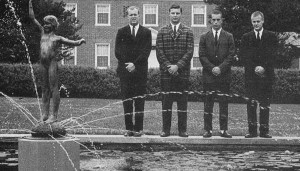 Who's the top donor to Johns Hopkins? Third from the left. The other 1964 Johns Hopkins class officers were Jim Kelly, Al Bigley and Larry Alessi. Credit Johns Hopkins University